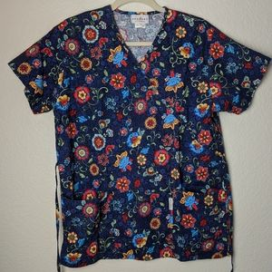 2/$15 Peaches navy floral scrub top. Sz S.
